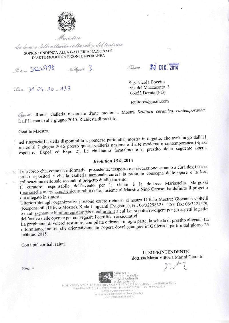 nicola boccini invites to ceramic exhibition in rome at GNAM