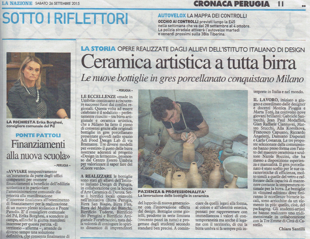 Nazione Sabato 26 Settembre 2015 ceramic and beer