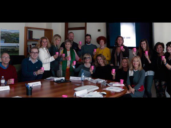 Incontro tra Artisti e le Pink Lady, Fondazione Veronesi Milano, per la mostra  LUCE4GOOD, Light Art Ensemble